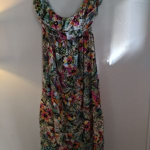 Torrid Tropical strapless maxi ruffle dress